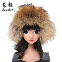 Real Fox Fur Bomber Hats For Children Luxury Warm Raccoon Fur Caps Bombers Fur Winter Russian Trapper Hat for Girls Boys Ushanka