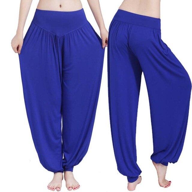 Women high waist Long Pants Harem Youga Modal Dancing Long Trouses Wide Loose Leg Belly Dance Comfy Boho Pants colors YF483 1