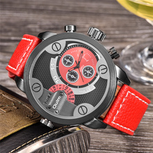 Oulm Military Watches Men Luxury Brand PU Leather Quartz Watch Man Two Time Zone Big Size Male Clock Hours relogio masculino