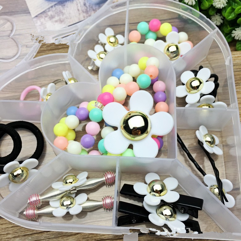 15pcs/set Sweet Loveing Box Cute Flowers Hairband Hairpin Rings Jewelry Sets For Women Gril Child Hair Accessories Gift