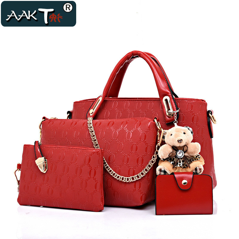 4 Piece Set Aakt Brand Women Fashion Bag 2017 Latest Lady Printed Shoulder Bags Handbags Female Pu Leather Clutches Purse In From Luggage