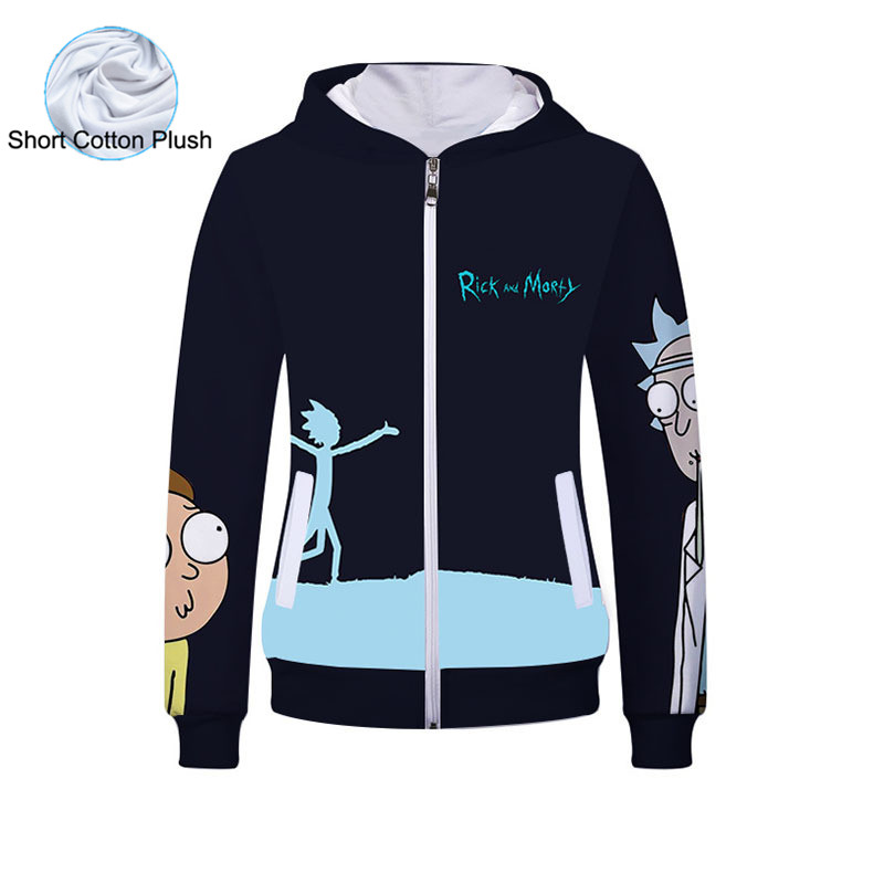 Fans Made 2019 Unisex Cotton Hooded Sweatshirt Anime Morty and Rick 3D Hoodies Cute Cartoon Wizardry Cosplay Costume Hoodie