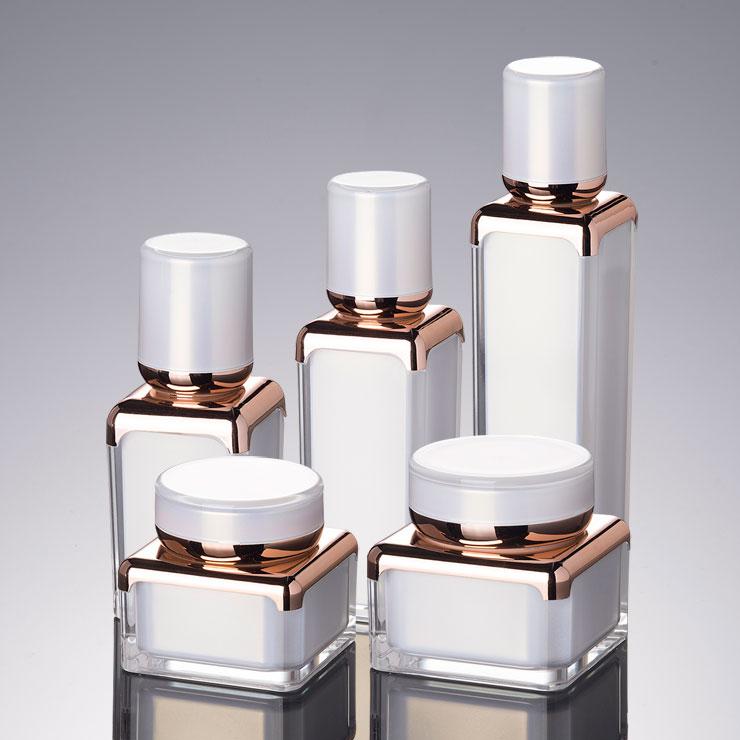 10PCS Elegant Square Shape  Acrylic Bottle Jar Lotion Pump Bottle Pearl White Rose Gold Color Acrylic Cream Jar 30g 15ml 30ml