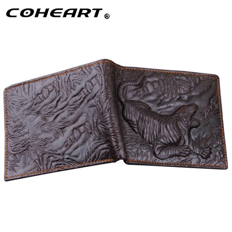 Cartera de cuero para hombre, patrón de Tigre, monederos de calidad superior de piel Natural, bolsa de dinero a la moda, pequeños tarjeteros de diseño plegable