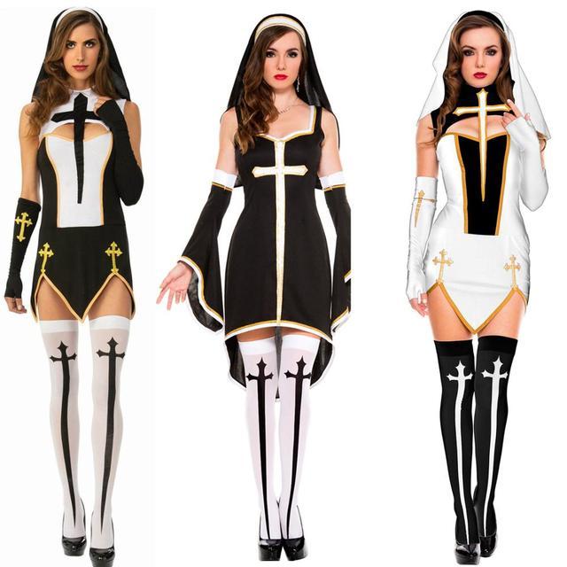 Women Sexy Bad Habit Nun Costume Christian Missionary Fancy Dress