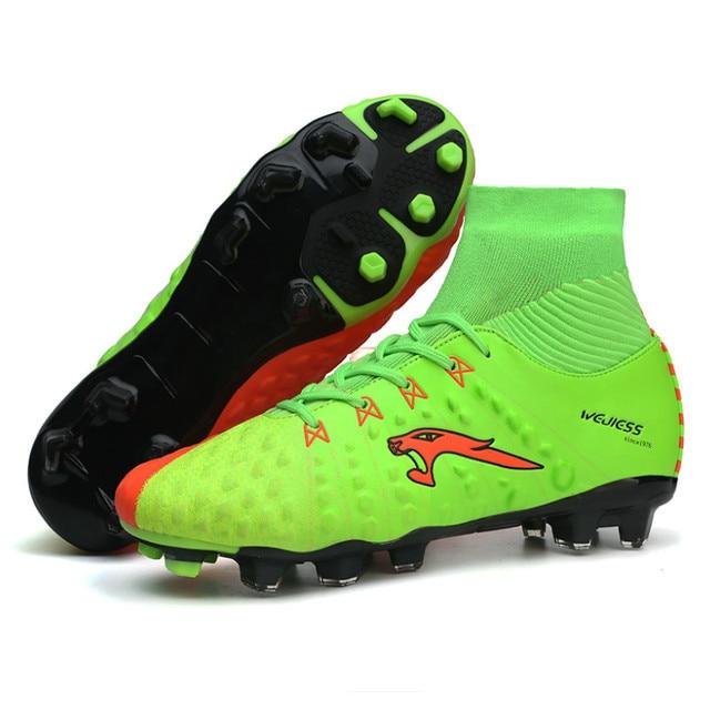 03a19f20560f Новые длинные шипы футбольные ботинки с носка Обувь для футбола высокие  ботильоны Футбол бутсы для Для