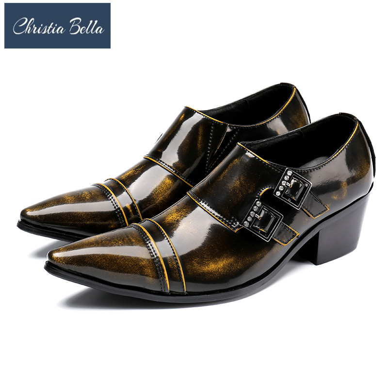 Christia Bella Brand Classic Buckle Strap Mens Dress Shoes Genuine Leather Comfortable Brown Male Social High Heels Oxford Shoes