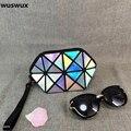 Láser WUSWUX nueva marca de moda pu bolsa de maquillaje cambio geométrico mujeres viajan bolsa de cosméticos caso del maquillaje del organizador del embrague 6 colores