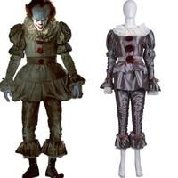 Movie Stephen King's It Pennywise Cosplay Costume Adult Terror Clown Costume Halloween Carnival Devil Joker Costume Suits