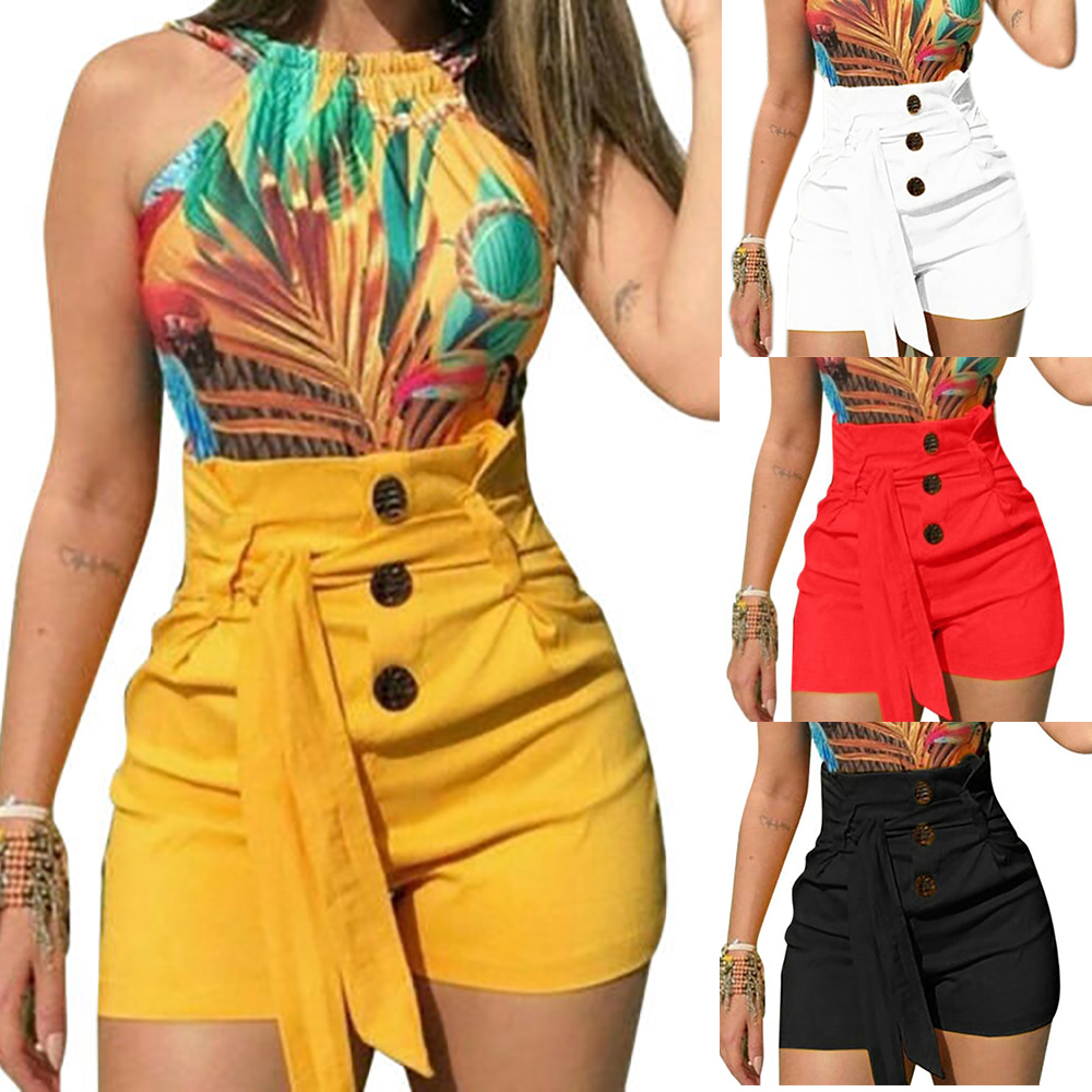 CALOFE 2019 Summer Women   Shorts   Sexy Ladies High Waist Casual Buttom Bandage Beach Hot   Shorts   Womens Plus Size S-5XL