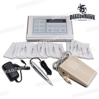 Permanent Makeup Tattoo Pen with LCD Power Supply Needles Rotary Machine Body Art Professional Tattoo Kit