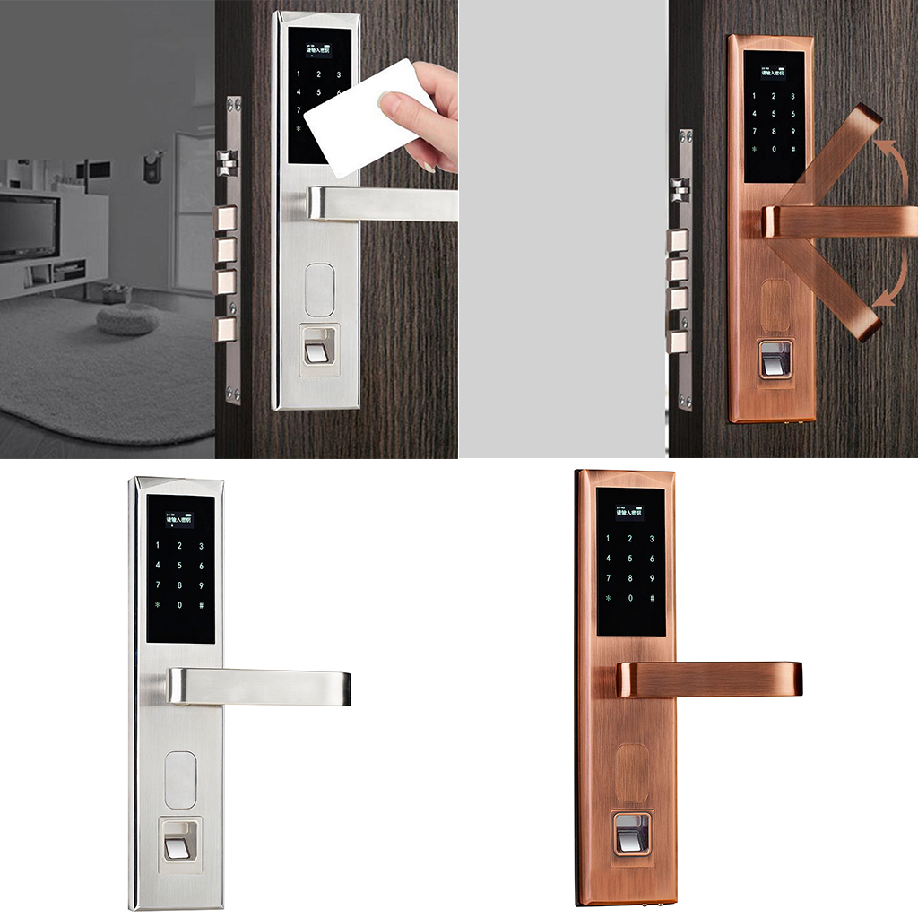 Electronic Touch Smart Door Lock Password Fingerprint Card Door Lock for Wooden Doors (Right Handed) entrance door handle solid wood pull handles pa 377 l300mm for entry front wooden doors