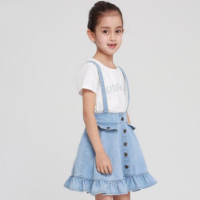 04f070b30f2 2017 Filles Denim Jupe pour Adolescents Scolaires Mignon Enfants Bleu Clair  Vêtements Saia L âge