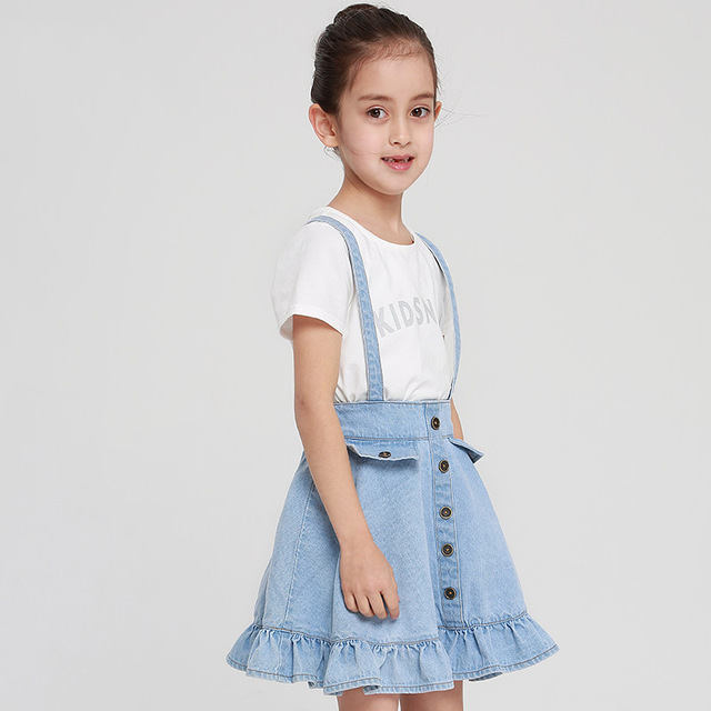 2017 Girls Denim Skirt for School Teens Cute Kids Light Blue Clothes Saia  Teenage Age 56789 10 11 12 13 14T Years Old Teenagers eb469354c304