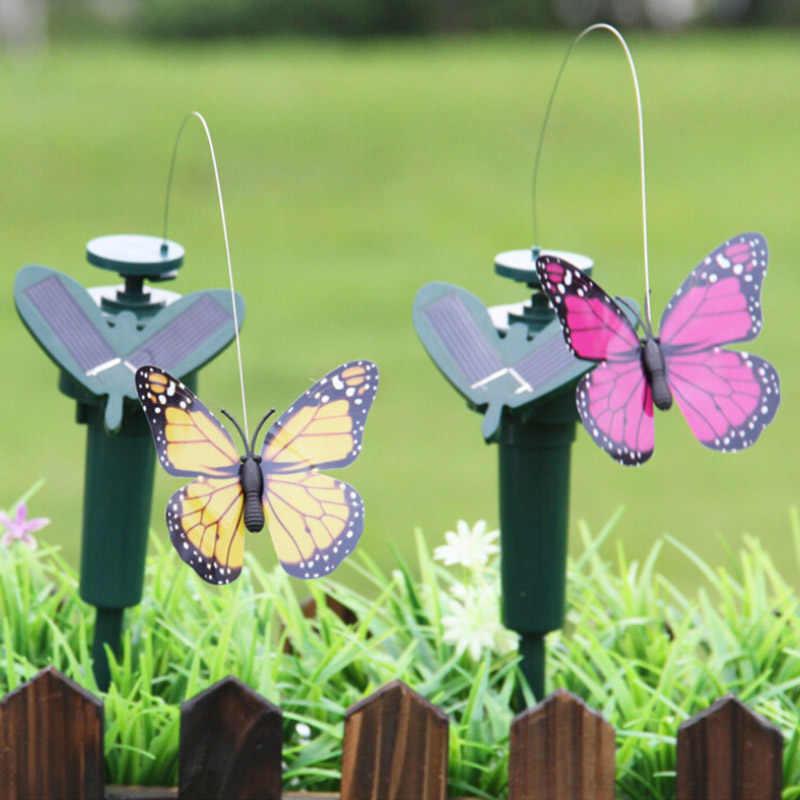 Solar Power Dancing Flying Fluttering Butterflies Colorful Vibration Hummingbird Home Garden Easter Decoration