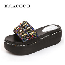 ISSACOCO Women Summer Crystal Diamond High Platform Slippers Womens Home Beach Shoes Casual WomanS Terlik