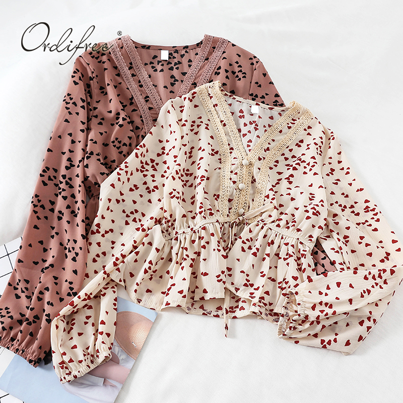 Ordifree 2019 Summer Autumn Women Chiffon Blouse And Tops Long Sleeve Vintage Love Printing Floral Lace Crochet Blouses Shirts