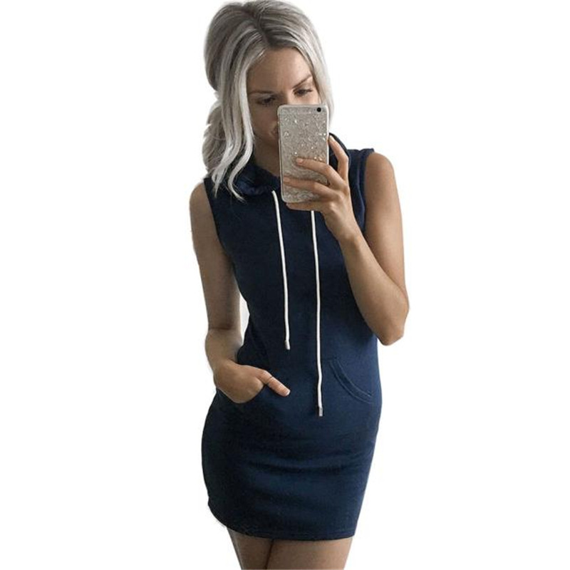 Women Summer Casual Sleeveless Hoody Dress with hat blue women dresses summer casual Dressdrop shipping jue28