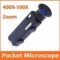 400X 500X Zoom Focus Adjustable Illuminated LED Pocket Microscope Magnifier Antiques jade Emerald Jewellery Identification tool