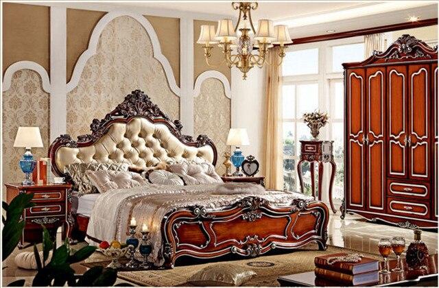 Europeos antiguos muebles de dormitorio de madera en Camas de ...