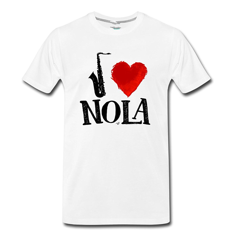 Design Shirts MenS Short Crew Neck Love Nola Slogan Musician MenS Premium Short-Sleeve T Shirts