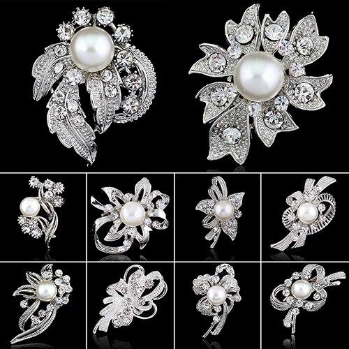 Bluelans новый свадебный букет горный хрусталь кристалл брошь булавки серебряные жемчужные броши цветок-in Броши from Украшения и аксессуары on Aliexpress.com | Alibaba Group