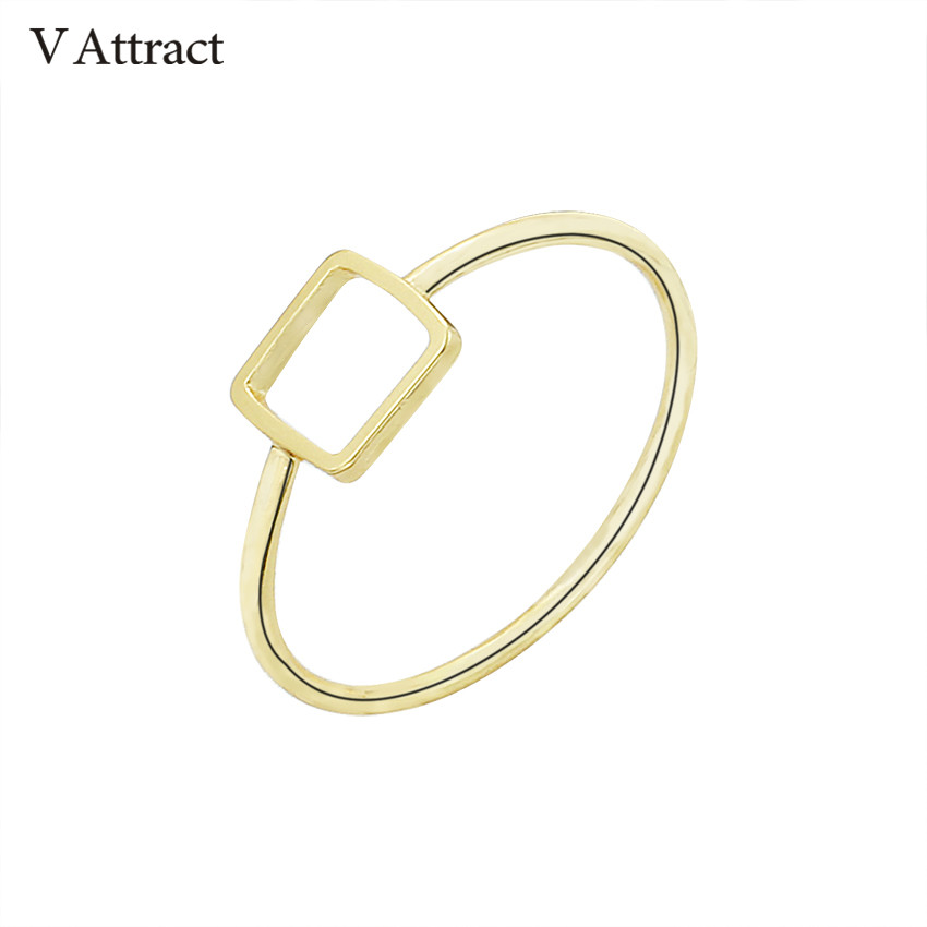 V Attract Simple Aneis Feminino Geometric Jewelry Open Square Rings For Women Men Fashion Gold Color Knuckle Bijuteria Bff Gift
