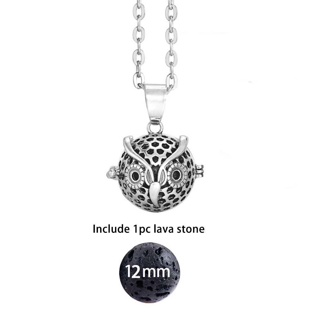 Dropshipping Felt Ball Lava Stone Aromatherapy Antique Vintage Glow Diffuser Necklace Locket Necklace for Perfume Essential Oil 4