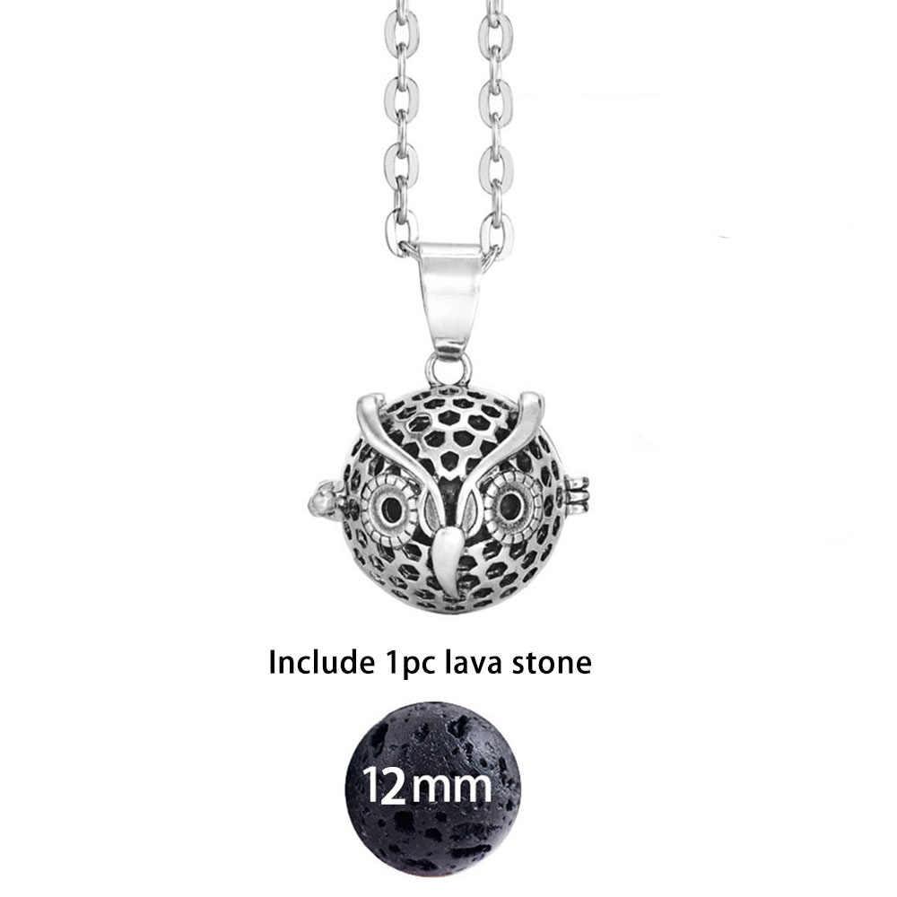 Dropshipping bola de feltro lava pedra aromaterapia antigo vintage brilho difusor colar medalhão para perfume óleo essencial