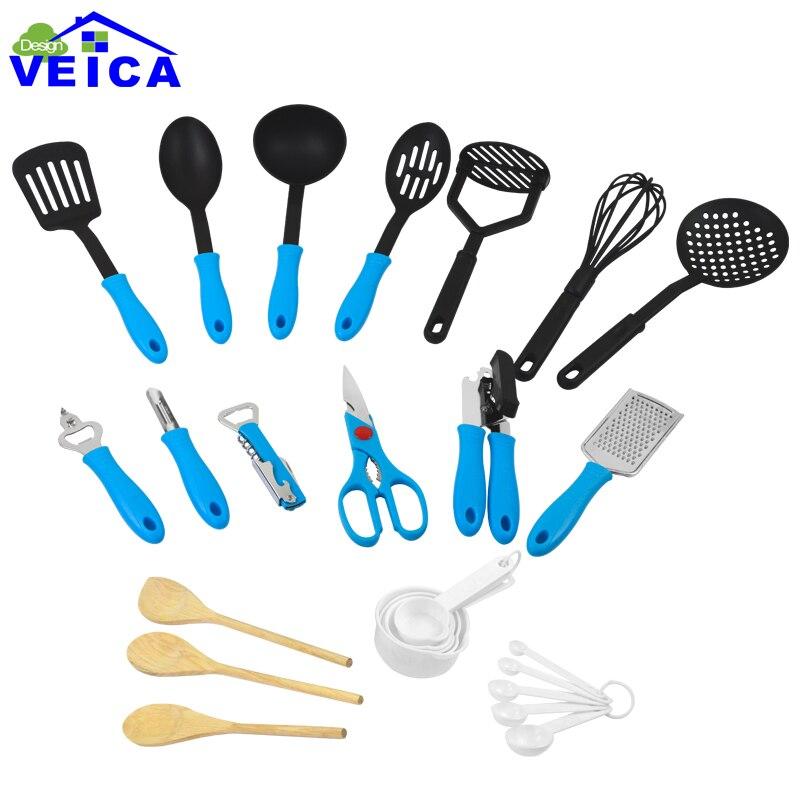 26 pièces ustensiles de cuisine Set d'ustensiles de cuisine spatule, cuillère, louche, tourneur à fente, ouvre-boîte cuillère à mesurer outils de cuisson