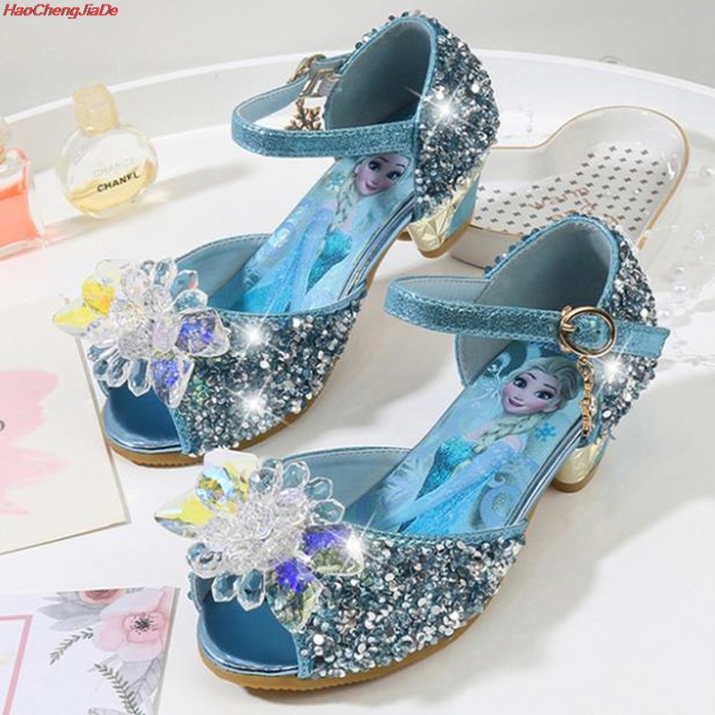 Children's High Heel Sandals Summer New Girls Princess Casual Shoes Baby Cartoon Elsa Snow Queen Crystal Shoes
