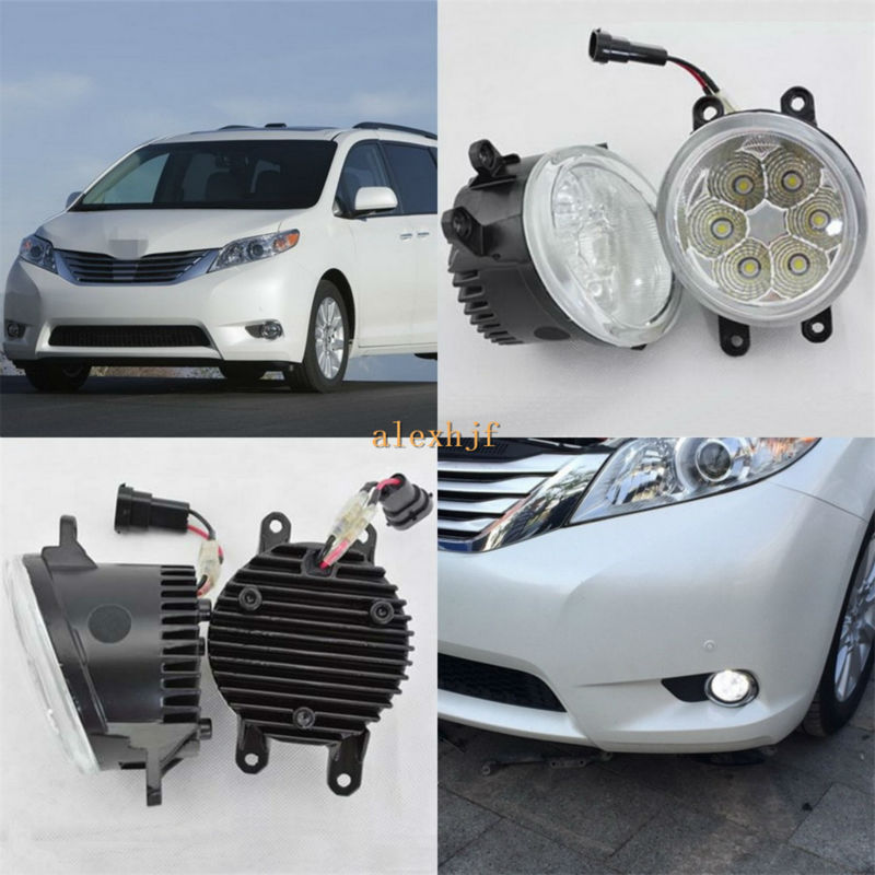 July King 18W 6LEDs 6500K LED Daytime Running Lights LED Fog Lamp Case for Toyota Sienna 2010~ON, 1260LM/pc, Waterproof july king 18w 6500k 6leds led daytime running lights led fog lamp case for toyota innova 2012 over 1260lm pc