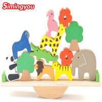 Simingyou Wooden Puzzle Cute Forest Animal Seesaw Balance Wood Educational Toys For Children B40 LZK01 Drop