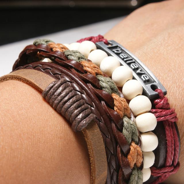 Vintage Leather Weave Wood Bead Inspirational Bracelet