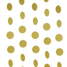 Gold Sparkly Paper Crafts Hanging Circle Garland Glittery Confetti  Wedding Bridal Shower Birthday Bachelorett Decor