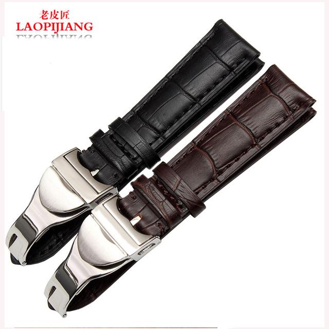 Faixa De relógio de Couro Laopijiang adaptador Chun Jue marinha lagarto Príncipe folding buckle strap 22mm