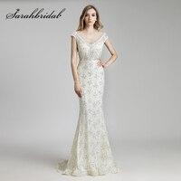 Großhandel Off White Mermaid Abendkleider 2018 Luxus Perlen Perlen Spitze Prom Kleid Flügelärmeln Festzug-partei-kleider OL512