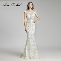 Wholesale Off White Mermaid Evening Dresses 2018 Luxury Beaded Pearls Lace Prom Dress Cap Sleeve Pageant Party Gowns OL512