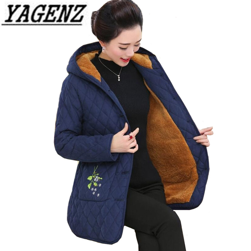 Oversized Women s Winter Hooded Embroidered Jacket Coats Middle aged Plus Velvet Loose Cotton Outerwear Warm