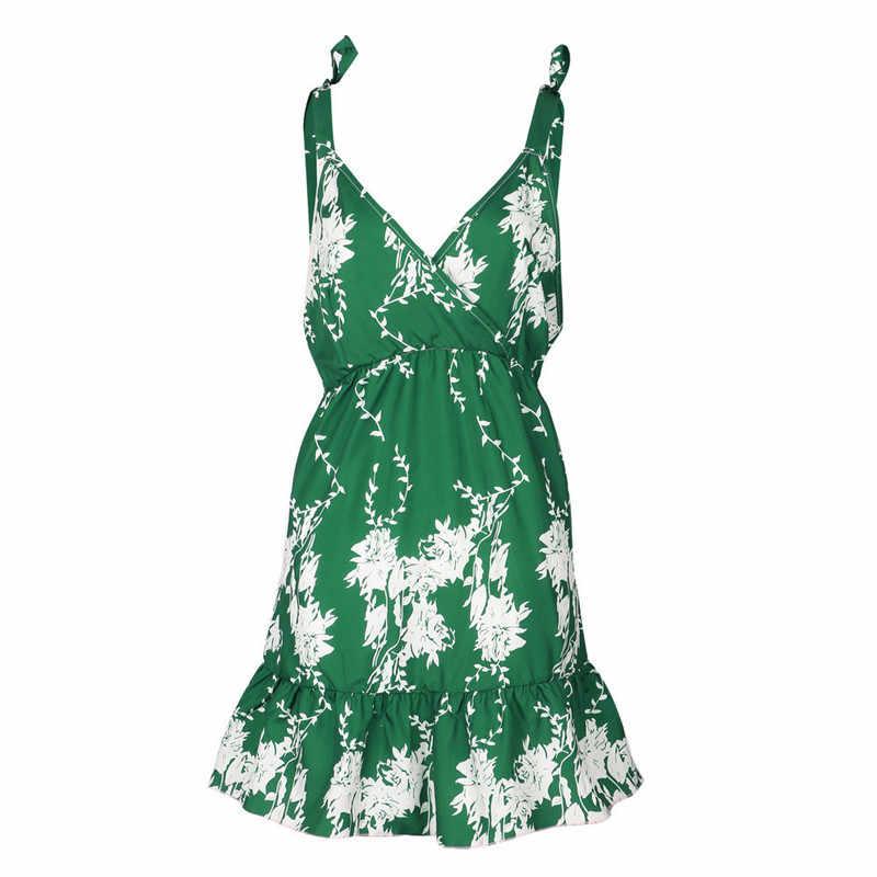 Летнее Новое Женское модное милое пляжное зеленое платье в богемном стиле, женское сексуальное платье с цветочным рисунком и низким вырезом на спине, платья для девочек, vestido