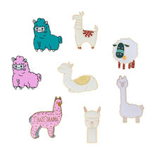 Leuke Cartoon Alpaca Pins Schapen Broches voor Vrouwen Metal Enamel Badges Revers pin Denim Jassen Mannen Hijab Sieraden Kawaii Gift kind(China)
