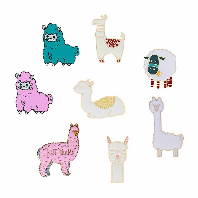 Cute Cartoon Alpaca Spilli Pecore Spilla per Le Donne In Metallo Dello Smalto Distintivi e Simboli Risvolto Spille Giubbotti jeans Degli Uomini Hijab Gioielli Kawaii Regalo del Bambino