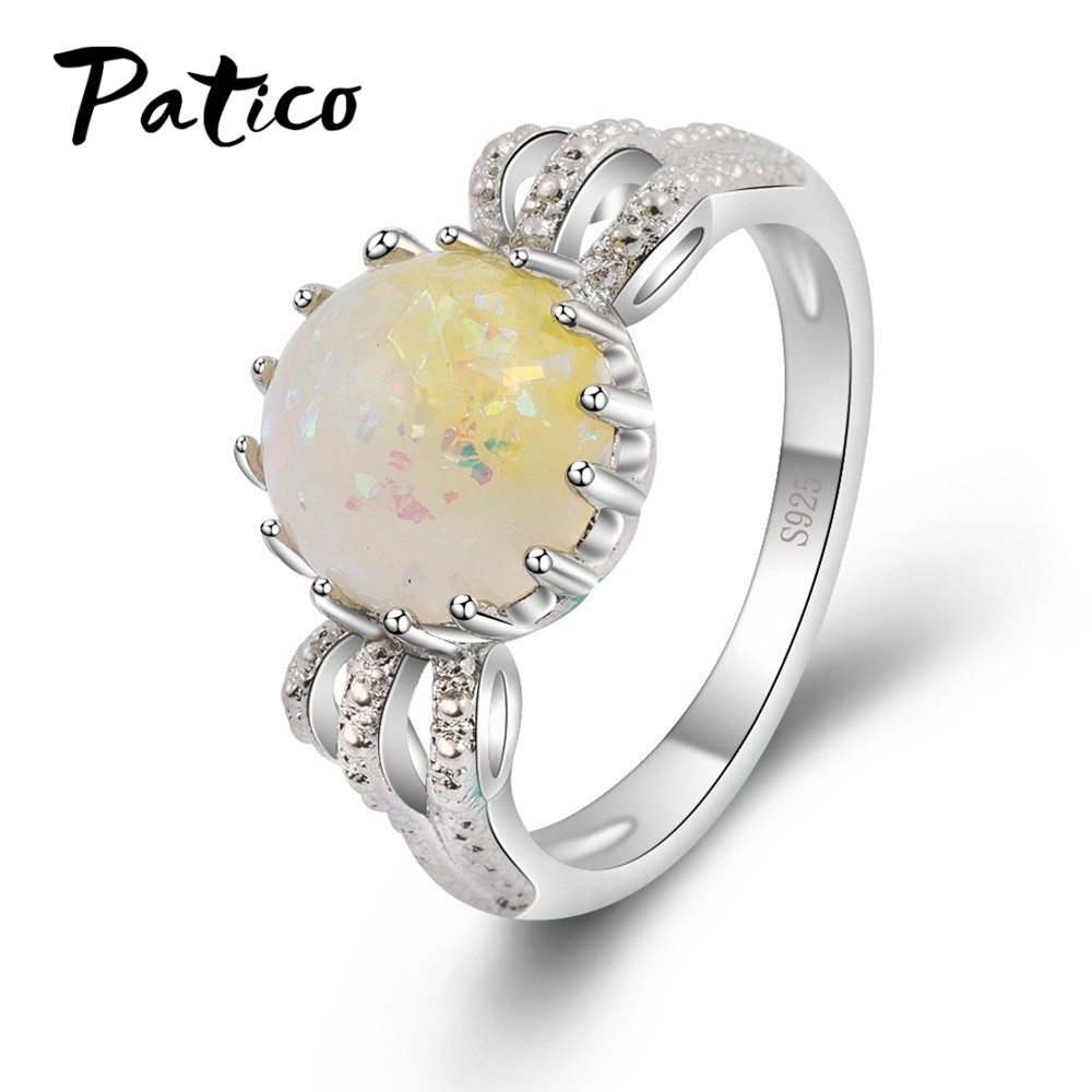 PATICO New AAA+ CUBIC ZIRCONIA Yellow Fire Opal Stone Ring 925 Sterling Silver Rings Women Ladies Finger Thin Delicate Ring