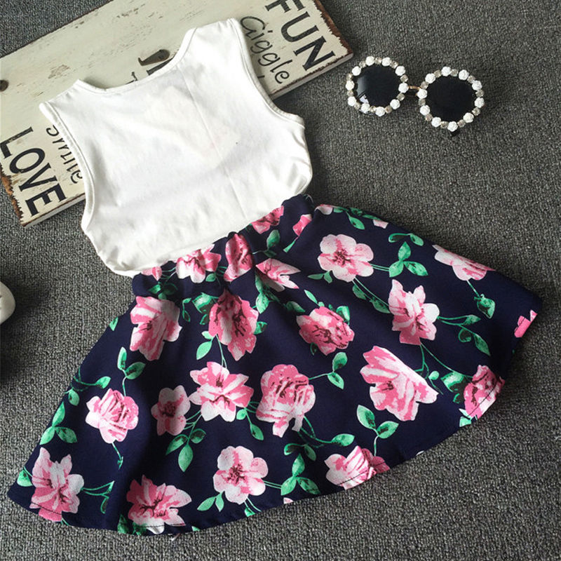 c41215703e52 Children Toddler Kids Baby Girls Clothes Skirts Flower Outfits T Shirt Tops  Vest + Floral Skirt Love Girl Clothes-in Clothing Sets from Mother   Kids  on ...