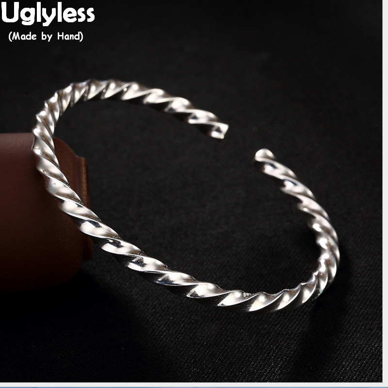 Uglyless Real S 999 Fine Silver Jewelry Cool Exaggerated Twist Bangle Simple Vogue Girls Dress Bangles Women Personalized BijouxUglyless Real S 999 Fine Silver Jewelry Cool Exaggerated Twist Bangle Simple Vogue Girls Dress Bangles Women Personalized Bijoux