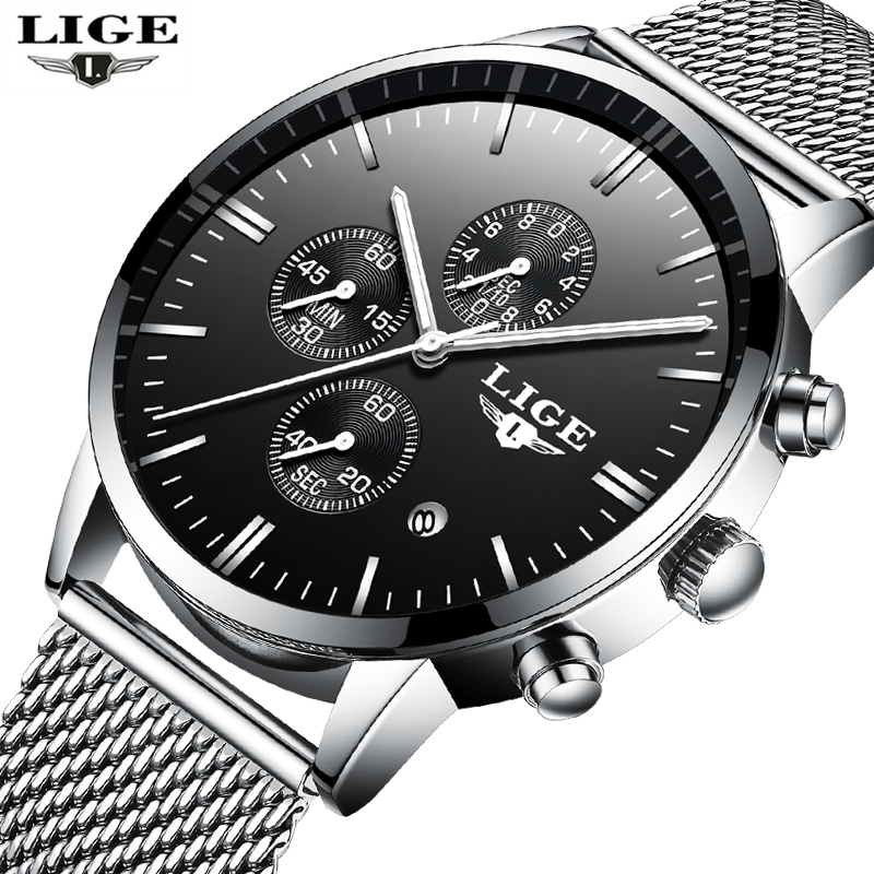 Reloj Hombre 2017 LIGE Fashion Chronograph Sport Mens Watches Top Brand Luxury Military Quartz Watch Clock Man Relogio Masculino