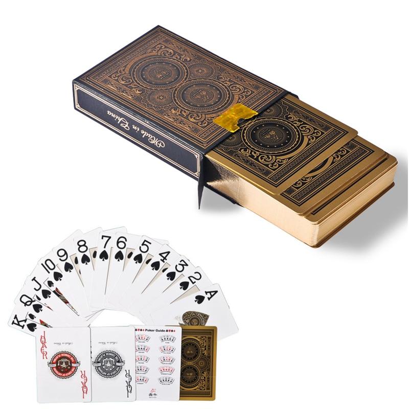 جودة عالية 56 قطع / سطح ماء pvc البلاستيكية الذهب حافة بطاقات البوكر مجموعة دائمة جمع أوراق اللعب سطح pokers السحر