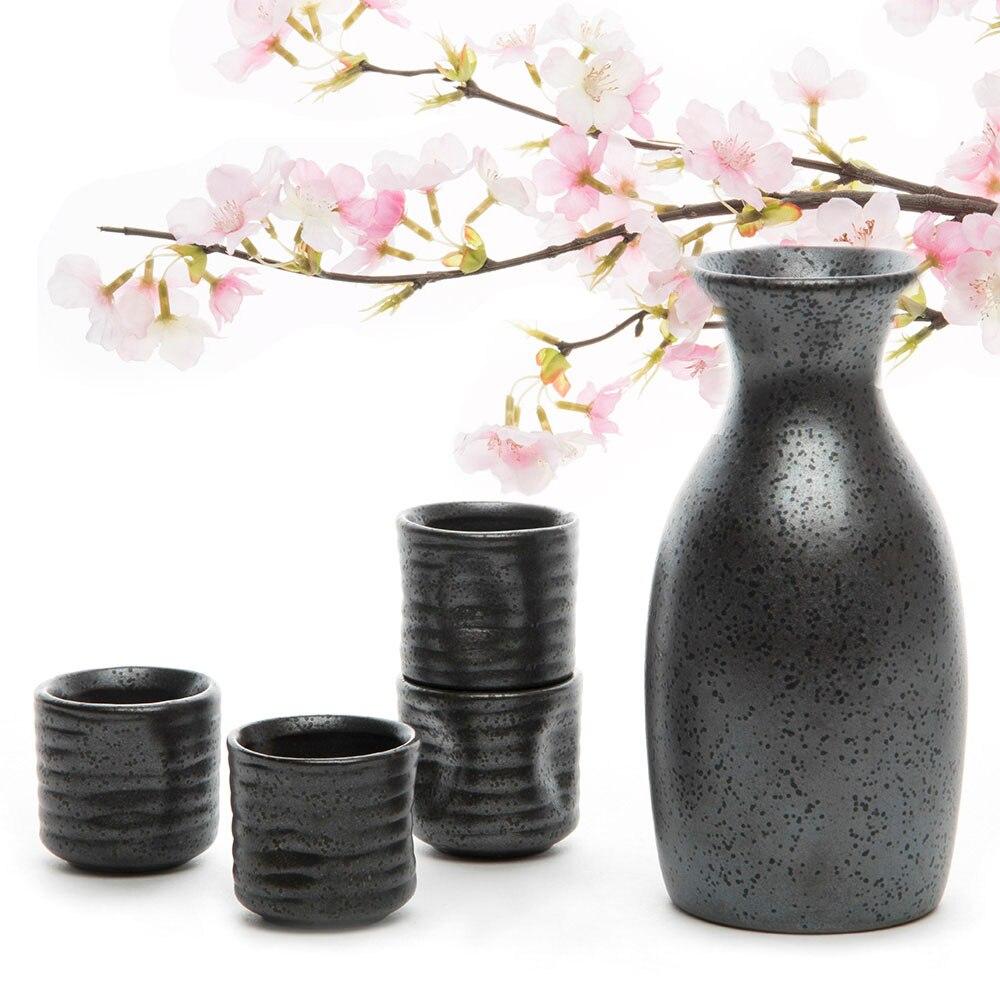 Китайский расписной вручную керамический керамика, набор для вина 1 саке, горшок + 4 чашки для саке, китайский чайник ручной работы, керамика, ...