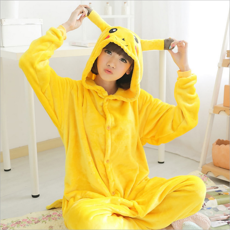Animal onesie Flannel Cartoon Sleepwear Adult Onesies pyjamas women Unisex Pokemon Pikachu Cosplay pajamas anime Costume