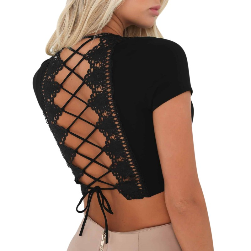Summer Sexy Back Hollow Lace   Tank     Tops   Ladies Cami Short Sleeve Vest Feminino Crop   Tops
